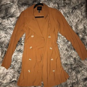 Rust double breasted trench coat